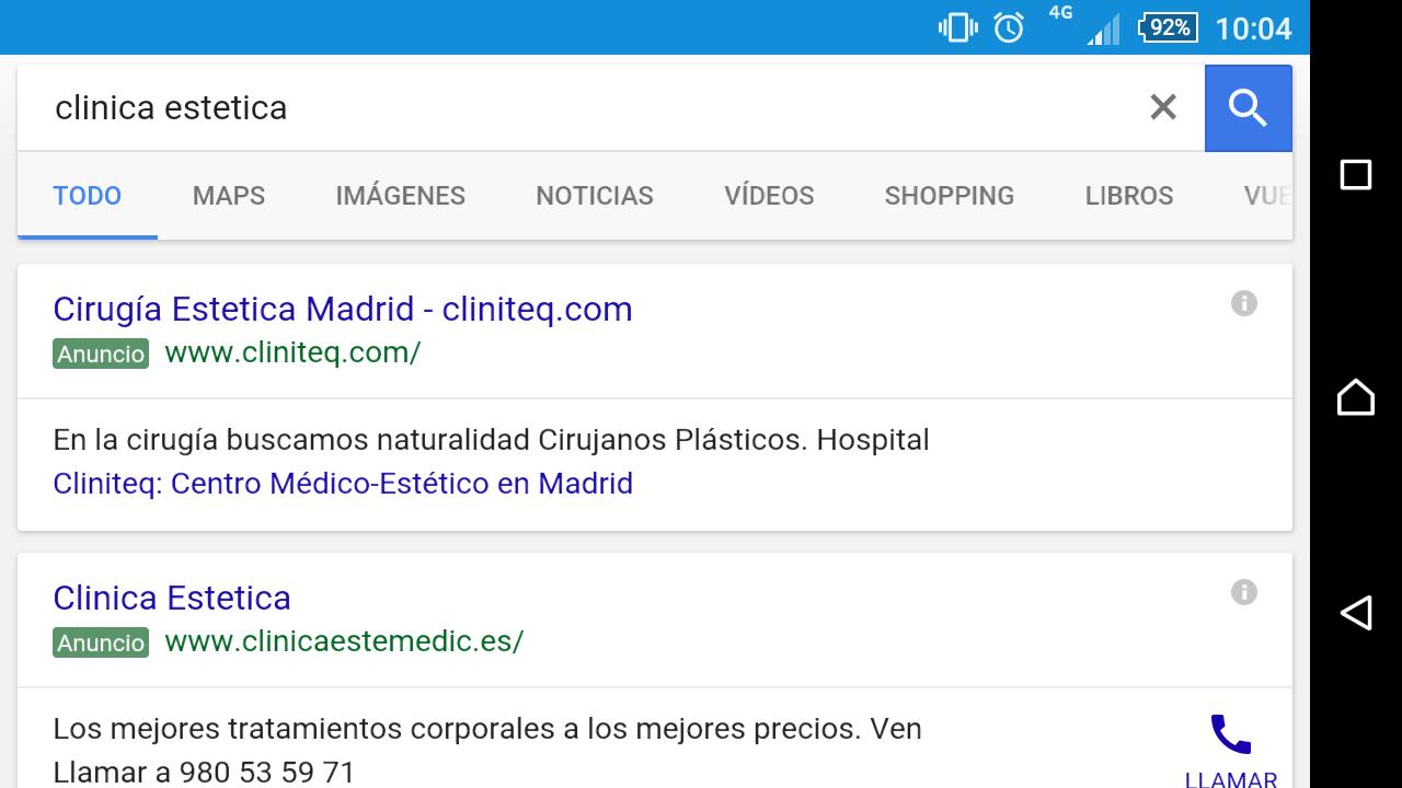 Consejos de adwords para clinicas esteticas mobile