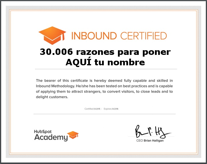 Certificado Inbound Marketing